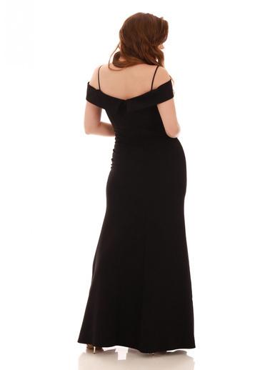Pierre Cardin Siyah Krep Yaka Uzun Abiye Elbise Siyah